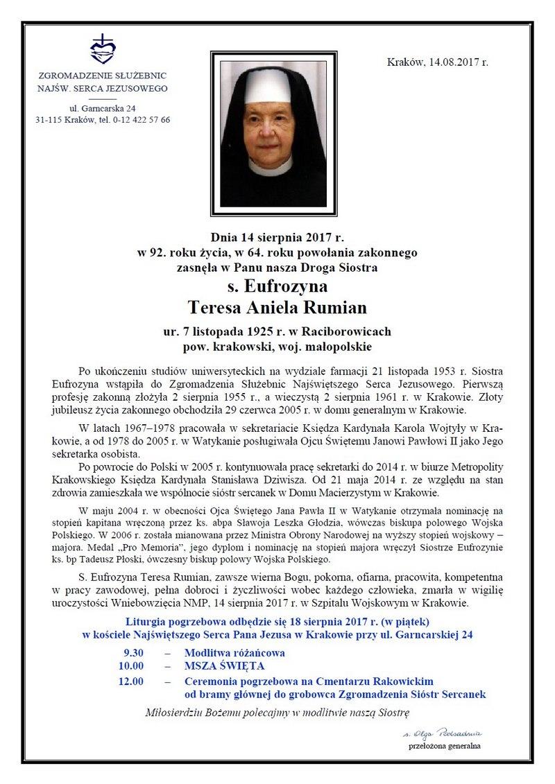 Siostra Eufrozyna Rumian - nekrolog