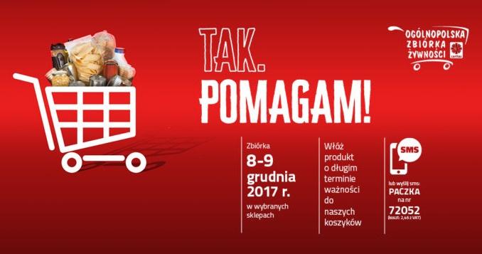 """13. ogólnopolska zbiórka żywności Caritas """"Tak, Pomagam!"""" - 8-9 grudnia 2017"""