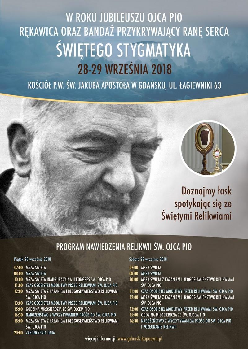 Relikwie św. Ojca Pio 28 i 29 września w kościele pw. św. Jakuba Apostoła w Gdańsku