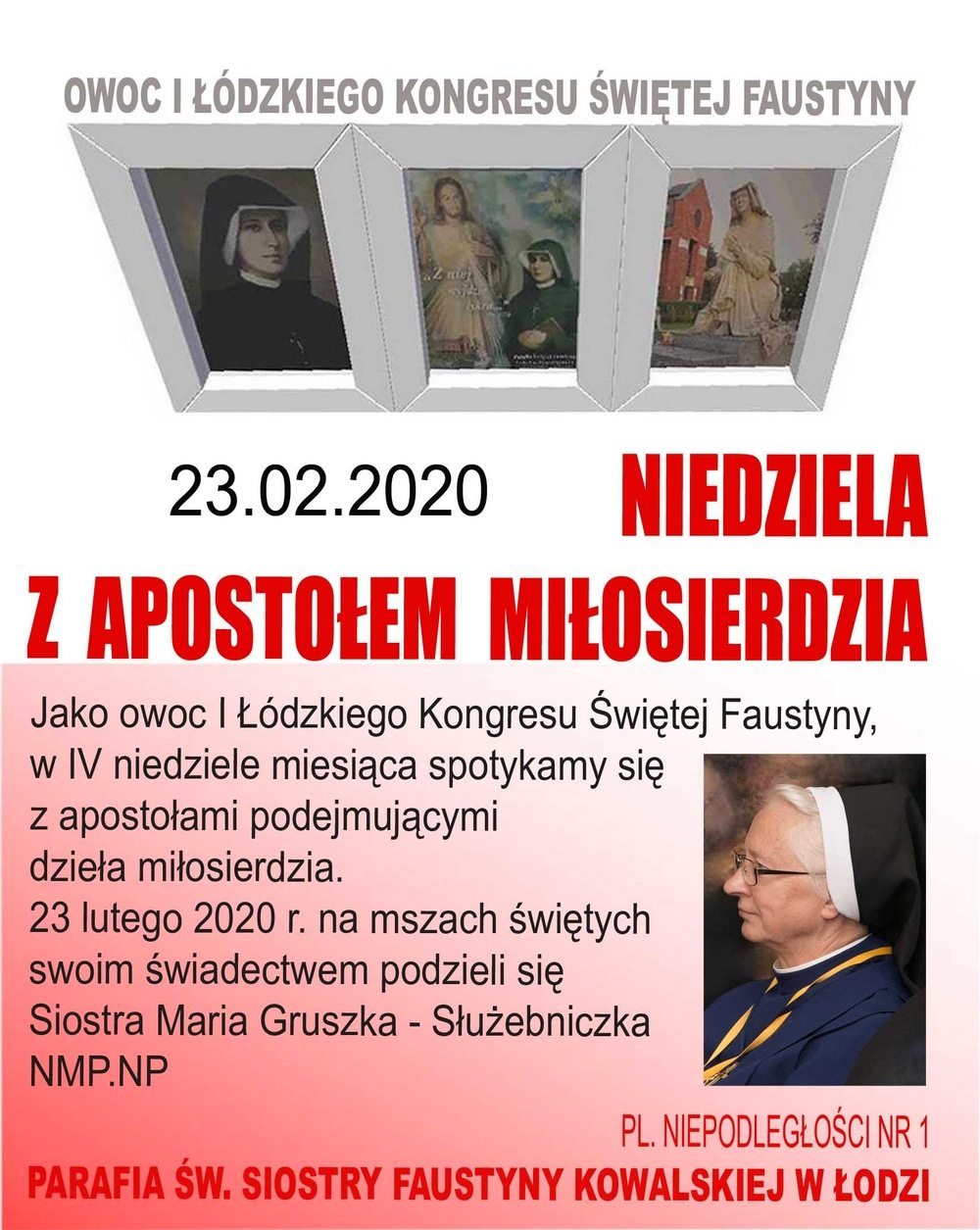 """23 lutego 2020 - """"Niedziela z Apostołem Miłosierdzia"""" w parafii św. Siostry Faustyny w Łodzi - Zaproszenie"""